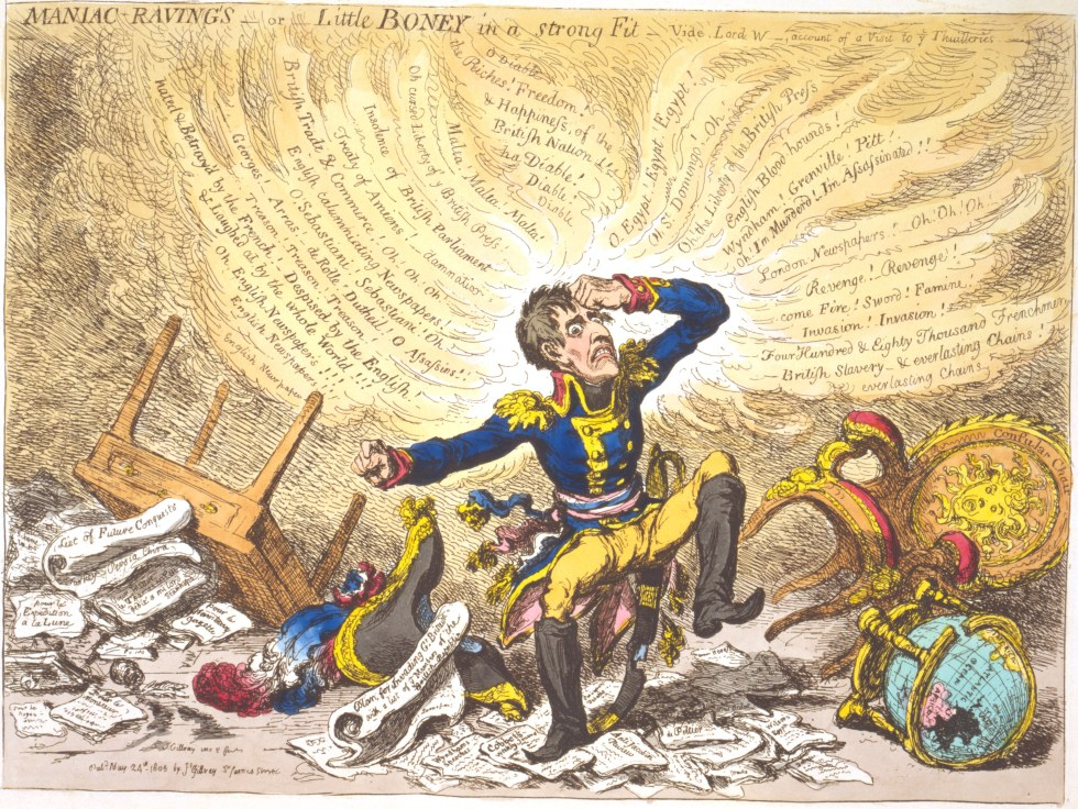 James Gillray, Maniac Raving's-or-Little Boney in a Strong Fit. (24 May 1803, Hannah Humphrey)